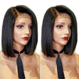$enCountryForm.capitalKeyWord Australia - Side Part Straight Human Hair Wigs With Baby Hair 130% Density Remy Brazilian Lace Front Wigs Glueless Short Bob Wigs