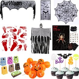 Discount game tricks - OurWarm Halloween Horror Props Spider Game Pumpkin String Light Lace Ghost Table cover Treat Trick Halloween Party Decor