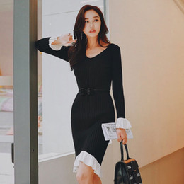 38df541c6da9 Dabuwawa Autumn Winter V Neck Dress Butterfly Sleeve Vintage 2018 New  Fashion Sweet Lady Black Slim Ruffled Knit Dress D18DDR015