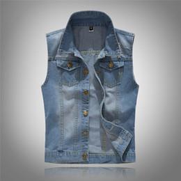 top jeans brands 2019 - 2019 Men's Sleeveless cotton Denim Vest Male fashion Spring Autumn 80s Vintage Jackets Hole Jeans Brand top Waistco
