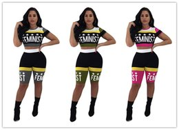 Sexy Suits T Australia - Women Sexy Tracksuit 2019 Summer Stars Printing Expose Navel Short T-shirt+shorts Two Pieces Sportswear suit Nightclub Clothing K8616