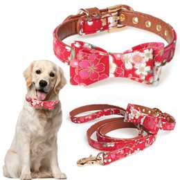 Wholesale Leather Dog Catena Cane Flower Print Collar For Dogs Pet Harness Solid Bow Tie For Dog Leather Pet Supplies Cat Accessories D15