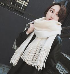 $enCountryForm.capitalKeyWord NZ - Brand New Fashion Women Winter Scarves and Wraps Red Cashmere Girls Solid Knitted Warmer Scarf for Women Large Big Scarf Tassel Shawl LFT111