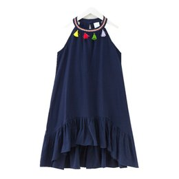 $enCountryForm.capitalKeyWord UK - 4 To 14 Years Kids & Teenager Girls Summer Bohemian Cotton Linen Tassel Asymmetrical Flare Casual Beach Dress Children Clothes J190505