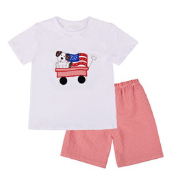 Car two babies online shopping - Baby Boy Two Piece Set Kids Stars Short Sleeve Embroidered Car Suit American Flag Independence National Day USA th July Round Neck T Shirt