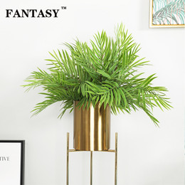 bamboo tree plastic Australia - 50pcs 45cm Tropical Palm Tree Branch Green Artificial Plant Fake Bamboo Leaves Plastic Bambus Grass For Hawaiian Party Carnival