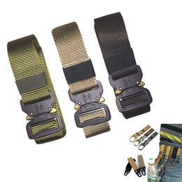 Discount military combat gear - 125-145CM Nylon Belt Military Tactical Belt Men Army Gear Style Jeans Belt Automatic Metal Buckle Combat Waist Strap for