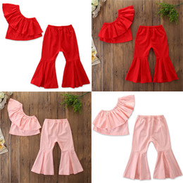 girl pants off 2019 - 2 colors Baby kids Girl clothes Outfits Off Shoulder Solid Color Ruffle Tank Long Flare Pants 2Pcs Set children clothing