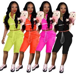 $enCountryForm.capitalKeyWord Australia - Women Patchwork Tracksuit T shirt Top + Shorts Outfit 2pcs Set Summer Zipper Crop Jacket Drawstring Outdoor Gym Sports Yoga Suit New A41506