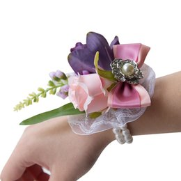 Bridal Brooch Flower UK - Wedding Bridal Wrist Corsage Flowers Brooch Pearls Bracelet Wrist Bouquets Bridesmaid Artificial Bride Wrist Flowers Wedding Gift Decoration