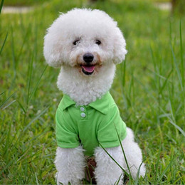 T Shirts Materials NZ - 12pcs lot Fashion Dog Polo Shirts For Spring Summer Colorful Pet Clothes Poromeric Material For Small Baby Pet Easy Washing