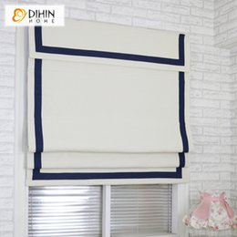 roman curtains Australia - Modern White Fabric With B Band and Top Valance Roman Blinds Customized Roman Shades Window Curtains For Living Room