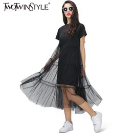 Spliced Shirt Australia - TWOTWINSTYLE Summer Korean Splicing Pleated Tulle T shirt Dress Women Big Size Black Gray Color Clothes New Fashion 2017 Y19042303