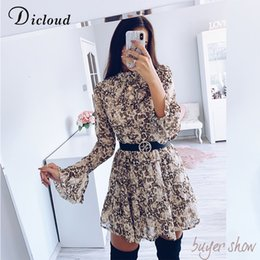 leopard print lining Australia - DICLOUD Leopard Print High Neck Chiffon Dress For Women 2020 Spring Winter Long Sleeve Mini Party Dress Sexy Clothing Female CX200701