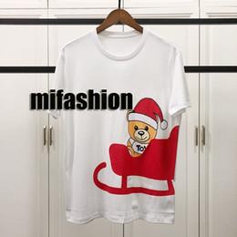 7ecba8b71bd404 19ss Luxe Europe France Paris Haute Qualité Vintage Imprimer De Noël Ours  T-shirt De Mode Hommes Designer Femmes T-shirt Casual Tee