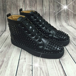 Name Brand Red Dresses Australia - Hot Sell Name Brand Red Sole Black Sneaker Shoe Man Casual Woman Fashion Rivets High Top Mens Dress Party Cheap Sneaker Designer Shoes #987