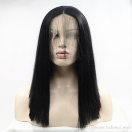 $enCountryForm.capitalKeyWord Australia - Natural Soft Full Lace Kinky Straight Black Short Bob Wigs with Baby Hair Glueless Synthetic Lace Front Wigs For Women Heat Resistant Fiber