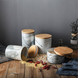 Tea Box Storage Australia - Nordic Style Creative Tea Storage Jars With Wood Lid Stone Pattern Coffee Tea Cans Sugar Container Tank For Kitchen Tea Box Pot Canister