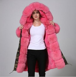 fur fox long female coats NZ - 4XL Meifeng brand hot pink fox fur trim Threshold hot pink fox and rabbit fur lining Camouflage long parkas female snow coats Cold resistant