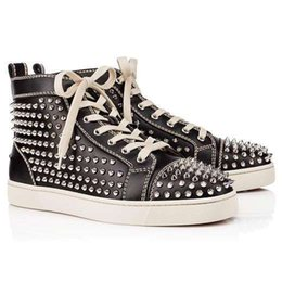 Silver Black Red Australia - 2019 high top silver spiked men shoes Red Bottom Sneakers Pik Pik spiked black leather junior Flat trainers US 5-12