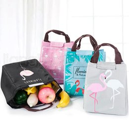 Cool tote lunCh bag online shopping - Flamingo Tote Thermal Bag Black Waterproof Oxford Beach Lunch Bag Food Picnic Women Kid Men Cooler Bag Storage Bages colors RRA72
