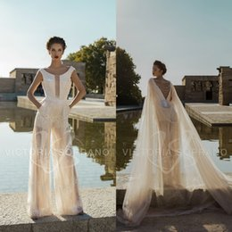 backless jumpsuit plus size NZ - 2019 Victoria Soprano Wedding Dresses With Wraps Jumpsuits Lace Sequins Beads Backless Bridal Gowns Plus Size Beach Boho Vestido De Novia