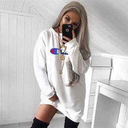 $enCountryForm.capitalKeyWord NZ - Women's Champions Letter Print Long Hoodie Dress Long Sleeve Round Neck Hoodie T shirt Dresses Loose T-shirts Sport Casual Sweater S-XL A422