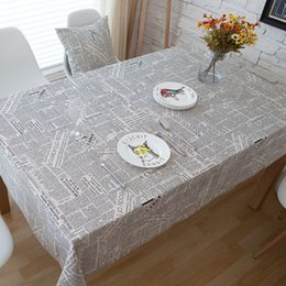 table cover pattern UK - Retro Newspapers Pattern Decorative Table Cloth Cotton Linen Tablecloth Dining Table Cover For Kitchen Home Decor Table Cloth