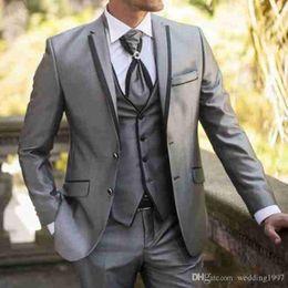$enCountryForm.capitalKeyWord Australia - Gray Wedding Men Suits Three Piece Notched Lapel Formal Style Jacket Vest Pants Groom Tuxedos Latest Blazer