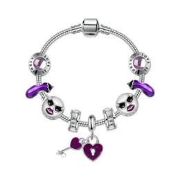 Key Bead Bracelet Australia - 17-21CM Charm Heart Key Pendant 925 Silver Pandora Style Bracelets Sunglasses face beads Diy Wedding Jewelry Gift Charm Accessories with box