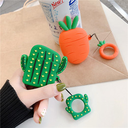 Discount cute rings for fingers - For AirPods Case Cute Cartoon Carrot Cactus pineapple Earphone Cases For Apple Airpods 2 Funny Protect Cover with Finger