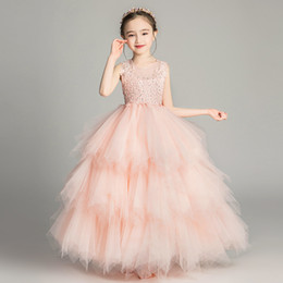 clothes puffy Australia - Shiny Sequins Flower Girls Dresses Sleeveless Tulle Tiered TuTu Girls Pageant Gowns Gorgeous Puffy Prom Dresses lace birthday clothes