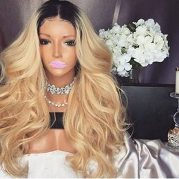 Discount 24inch long hair black women - Cheap 180% Density 24inch Blonde Long Wavy Lace Front Wig With Baby Hair Heat Resistant Glueless Synthetic Ombre Wigs Fo