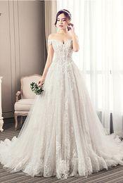 3fd2b1d1f0 Wedding dress 2019 new off shoulder tube top Slim fit Big trailing bride  dress princess dream wedding dress champagne lace