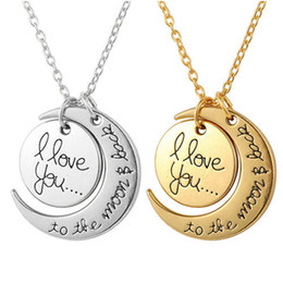 Wholesale Engraving Plate Gold 18k Australia - Wholesale Alloy Engraving I LOVE YOU Necklace Sun Moon Pendant Sweater Chain Hip Hop Necklaces Round Charm Women Jewelry Gifts