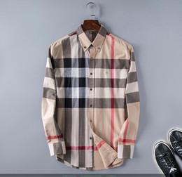 Wholesale dressing shirts online – design mens designer dress shirts Classical lattice luxury shirt casual skateboard t shirte Alphabet print hip hop Streetwear shirts