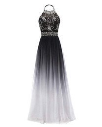 wholesale 2019 Halter Gradient Chiffon Long Prom Dresses Ombre Beads Plus  Size Evening Party Gowns Vestido Longo QA1558 922f27d26ded