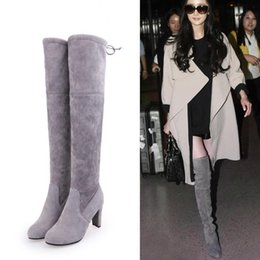 Boots Above Australia - SLHJC 8 CM High Heel Boots Above Over Knee Long Pumps Boot Women Plus Size Pointy Toe Square Block Heel Stocking Shoes