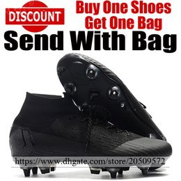 Color Leather Bags Australia - 2019 New High Ankle Football Shoes Socks Mercurial Superfly VI SG ACC Soccer Boots Trainers Mens Leather Soccer Cleats All Black With Bag