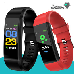 Watches bracelets online shopping - For apple Color Screen ID115 Plus Smart Bracelet Fitness Tracker Pedometer Watch Band Heart Rate Blood Pressure Monitor Smart Wristband