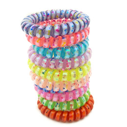 tying wire UK - Lots 100Pcs Random Colors Size 5CM Bowknot Hair Bands Elastic Bow Print Telephone Wire Hair Ties Plastic Rope Hair Accessory