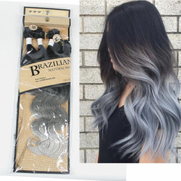 22inch hair weave Australia - Body Wave Bundles With Closure Synthetic Hair Bundles 3Pcs Pack 18-22inch Ombre Grey Bundles Body Wavy Weave Hair Extensions