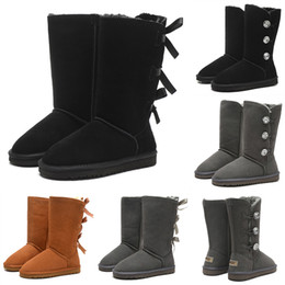 Women genuine leather knee high boots online shopping - High Quality WGG Bowtie Button Crystal Women s Australia Classic Brand Knee Half Boots Black Grey Chestnut Women Girl Fashion Snow Boots