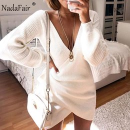 Long wrap sweaters online shopping - Nadafair V Neck Tunic White Sweater Dress Autumn Long Sleeve Lace Up Wrap Casual Mini Knitted Winter Dress Women