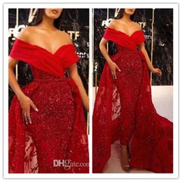 fall off shoulder shirts UK - Red Off Shoulder Mermaid Evening Dresses 2020 Arabic Lace Sequined Sexy Celebrity Prom Gowns With Detachable Train Formal robes de soiree