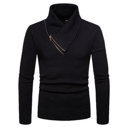trendy black clothing 2019 - Luxury Zipper Turtleneck Sweater Men Casual Slim Pullovers Autumn Winter 2019 Clothes Trendy Warm Tricot Pull Homme New