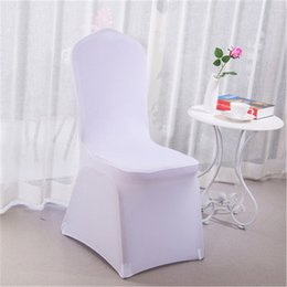 White Chairs For Wholesale Australia - Wolesale White Hotel Chair Covers Wedding Pure Color Thicker Desk Chair Cover Elastic High-end Banquet Chair Cover for Party Decoration H117