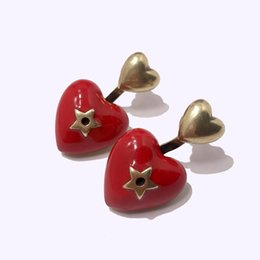 ExquisitE indian Earrings online shopping - 2019 Exquisite fashion enamel red black heart shaped stars double heart earrings fashion designer jewelry earrings women earrings
