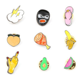 rainbow brooches Australia - Cartoon Fruit Brooch Cute Rainbow Watermelon Apple Pineapple Cherry Banana Enamel Pins Jackets Lapel Pin Badge for Women Jewelry