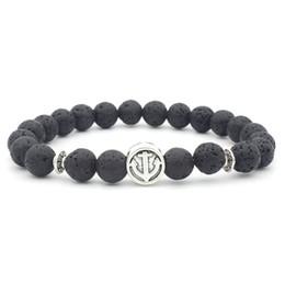 $enCountryForm.capitalKeyWord NZ - Anchor Charms 8MM Black Lava Stone Beads Bracelet Volcano Rock DIY Essential Oil Diffuser Bracelet for Women Men Jewelry